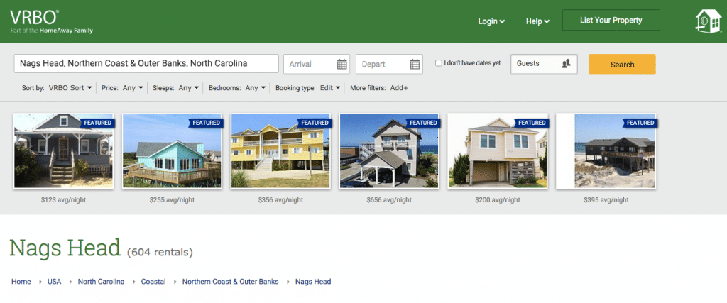 The organic landing page for Nags Head on VRBO has all rentals.
