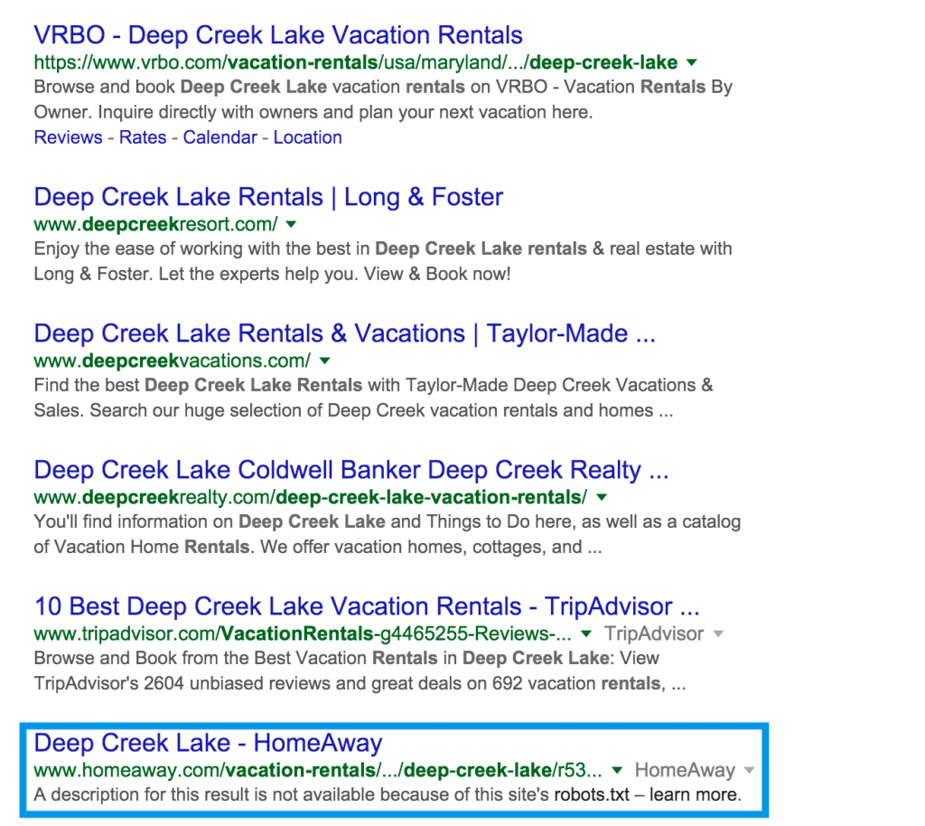 An example of a blocked page in Google search.