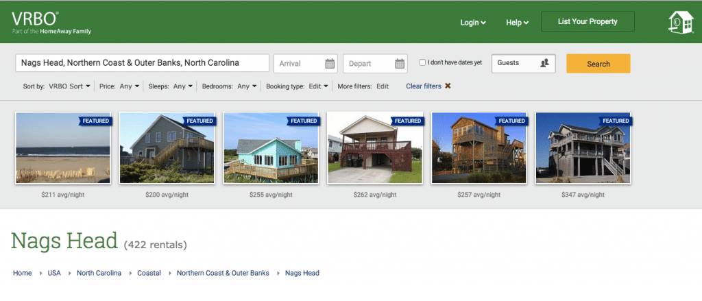 The Google AdWords landing page for Nags Head only has online bookable rentals.