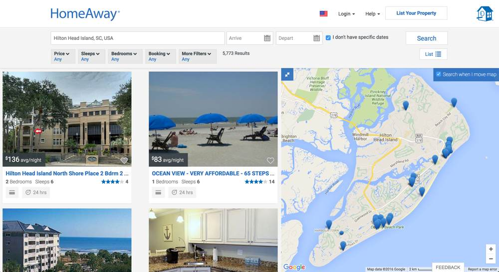HomeAway's Mapping Layout. Source: https://www.homeaway.com/theme/hilton-head?view=m