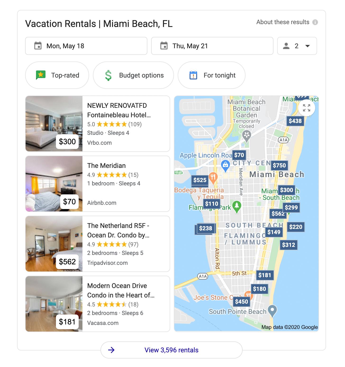 close up google listings